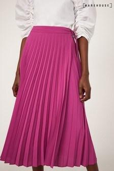 Warehouse Pink Pleated Wrap Midi Skirt