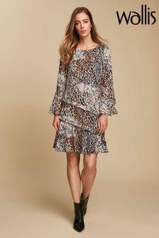 Wallis Natural Animal Ruffle Shift Dress