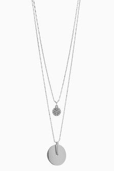 Two Layer Diamanté Disc Necklace