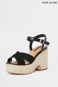 River Island Black Wacky Demi Wedge
