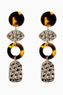 Tortoiseshell Effect Hammered Drop Earrings