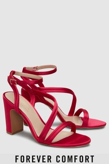 Asymmetric Strap Block Heel Sandals