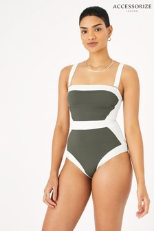 Accessorize Green Illusion Textured Shaping Swimsuit