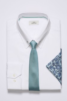 Slim Fit Collar Pin Shirt With Mint Tie