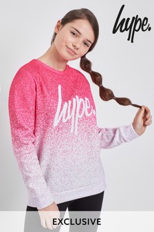 Hype. Pink/White Speckle Fade Sweat Top