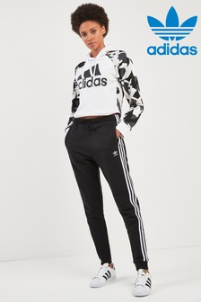 adidas Originals Black 3 Stripe Cuffed Jogger