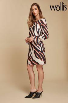 Wallis Natural Diagonal Zebra Shift Dress