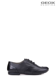 Geox Plie Black Leather Jazz Brogue Shoes