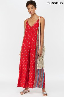 Monsoon Ladies Red Monti Print Romper
