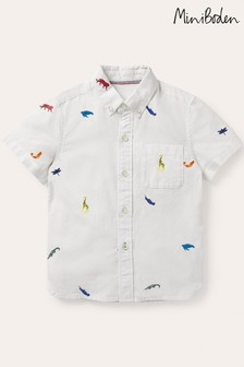 Boden Ivory Embroidered Short Sleeve Shirt