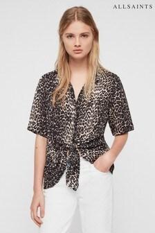 AllSaints Leopard Print Serina Tie Shirt