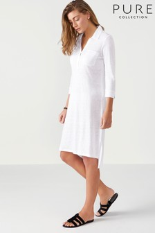 Pure Collection White Linen Jersey Pocketed Tunic