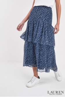 Lauren Ralph Lauren Navy Floral Aubrianna Skirt