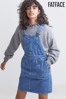 FatFace Blue Corin Denim Pinafore Dress