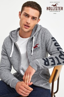 Hollister Grey Logo Zip Through Hoody