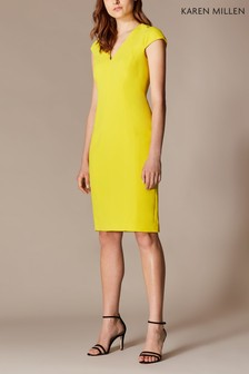 Karen Millen Yellow Angular Contour Dress