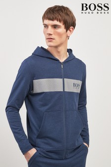 BOSS Navy Chest Logo Zip Through Hoody