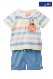 Joules Marvin Jersey-Top und Shorts im Set, blau