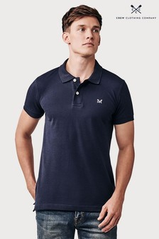 Crew Clothing Blue Slim Fit Pique Polo