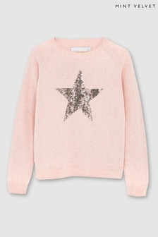 Mintie by Mint Velvet Pink Animal Sequin Star Jumper