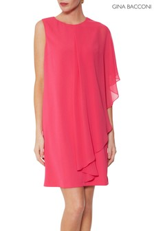 Gina Bacconi Pink Aletta Moss Crepe And Chiffon Dress
