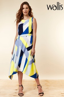 Wallis Blue Colourblock Hanky Hem Dress