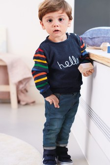 بلوزة ياقة مستديرة شعار Hello (3 شهور -6 سنوات)