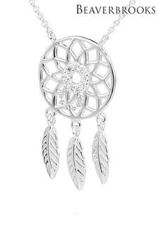 Beaverbrooks Silver Cubic Zirconia Dreamcatcher Necklace