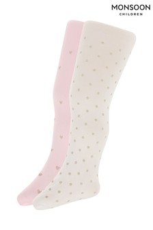 Monsoon Multi Baby Glitter Print Tights Two Pack