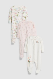 Pretty Floral Embroidered Sleepsuits Three Pack (0mths-2yrs)