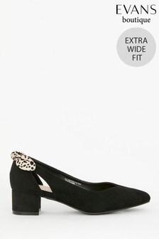 Evans Extra Wide Fit Black Bow Block Heels