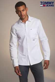 Tommy Jeans White Solid Twill Shirt