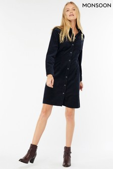 Monsoon Navy Dolores Cord Dress