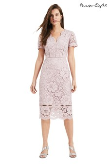Phase Eight Pink Trinity Corded Lace Dress