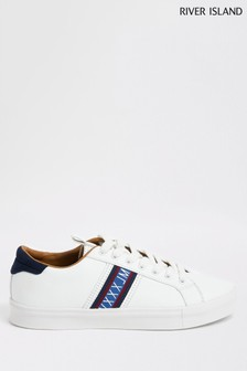 River Island White Side Tape Trainer