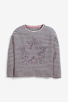 Stripe Sequin Scatter Star Top (3-16yrs)