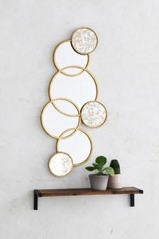 Spiegel mit Kreisen, Gold