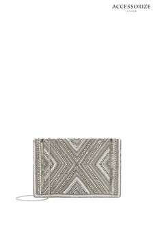 Accessorize Silver Cleo Beaded Clutch Bag