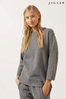 Jigsaw Grey Luxe Herringbone Sweatshirt