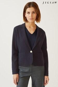 Jigsaw Blue Patch Pocket Knit Jacket