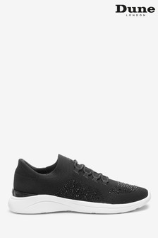 Dune London Black Easy Lace-Up Fabric Embellished Trainers