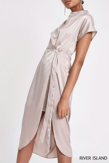 River Island Pink High Neck Midi Dress