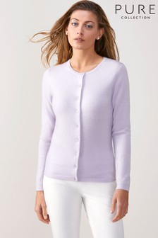 Pure Collection Purple Cashmere Crew Neck Cardigan