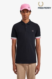 Fred Perry Navy Bold Cuff Pique Polo