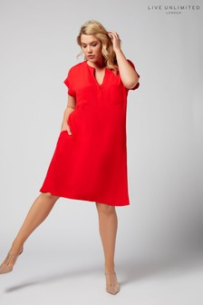 Live Unlimited Red Morocain Shift Dress