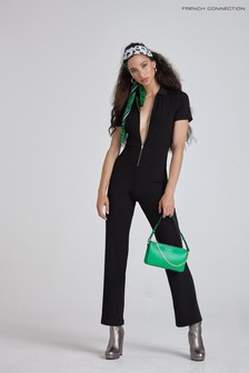 French Connection Black Skarlett Ribbed Jersey Jumpsuit