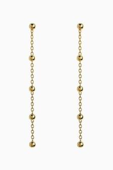 Sterling Silver Bead Detail Drop Earrings
