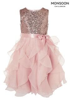 Monsoon Pink Cancan Sequin Ruffle Dress