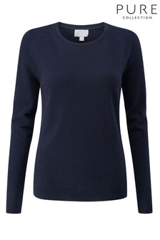 Pure Collection Blue Cashmere Original Crew Neck Sweater