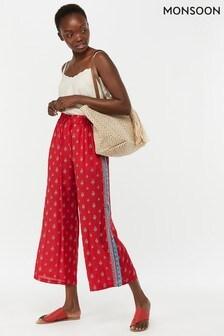 Monsoon Ladies Red Monti Print Trouser